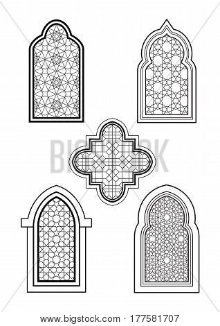 Arabic or Islamic traditional architecture set of windows. For greeting card coloring page and other