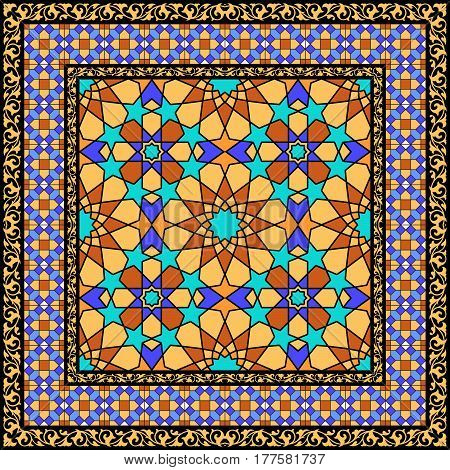 Traditional islamic bafckground, arabic stained glass ornament