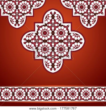 Middle eastern style quatrefoil mosaic background in red