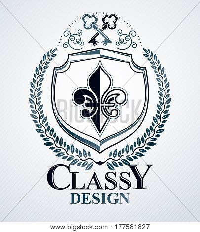 Heraldic design vector vintage emblem decorated with laurel leaf and door keys