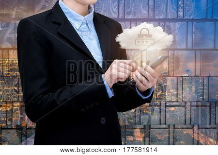 Young and Smart business woman play a smartphone with cloud technology with real estate building in background. Elegant Design for smart business and smart technology concept