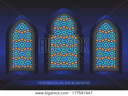 Ancient stained glass ornamental windows vector illustration