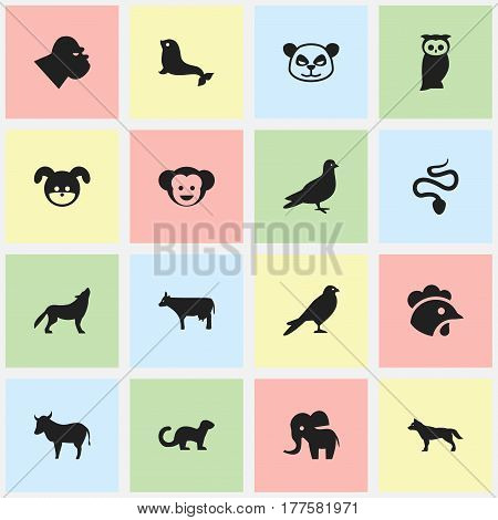 Set Of 16 Editable Nature Icons. Includes Symbols Such As Polecat, Owl, Elephant And More. Can Be Used For Web, Mobile, UI And Infographic Design.