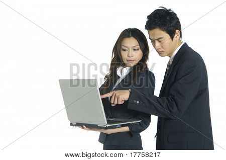 young business couple with laptop on white