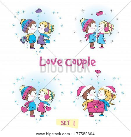 Set Love couple, cute boy and girl together, isolated on white, vector illustration