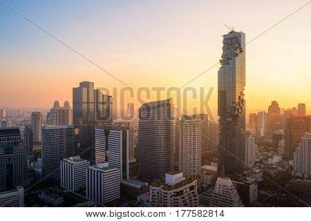 Aerial view of high rise modern building at business zone in BangkokThailand