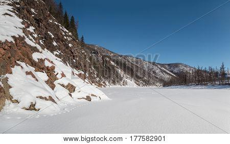 Rocks on the bank of the Timpton River in South Yakutia Russia