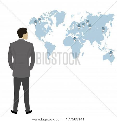 Businessman  full length back view isolated , world map on background , stock flat vector illustration