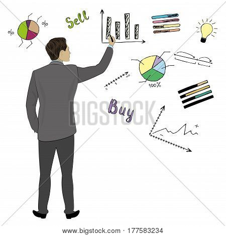 Businessman in suit  back view hand touch doodle finance charts and graphs, concept vector illustration