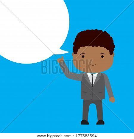 African american Businessman with bubble speech, cartoon vector illustration