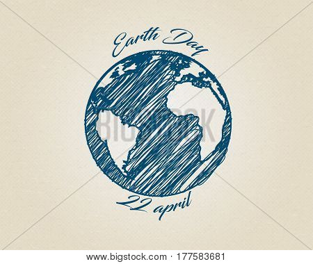 Blue ink ketch vector world globe planet with text around. Earth day drawing on recycling carton