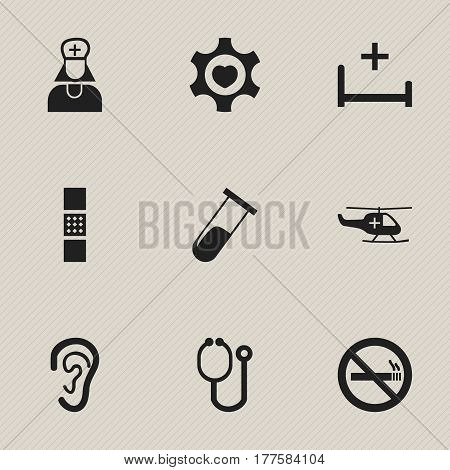 Set Of 9 Editable Health Icons. Includes Symbols Such As Doctor Tool, Hospital Assistant, Heart And More. Can Be Used For Web, Mobile, UI And Infographic Design.