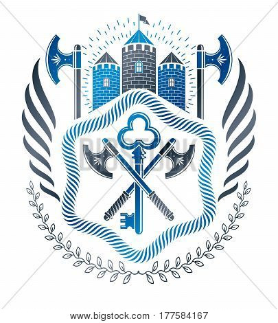Heraldic coat of arms decorative emblem created with hatchets and medieval castle
