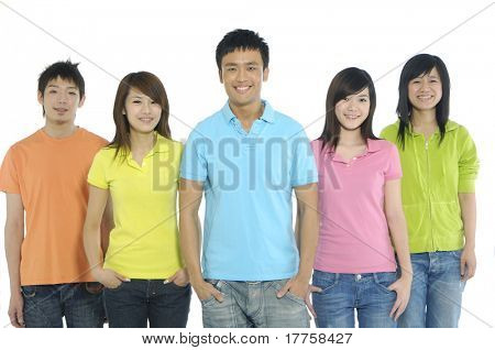 Group of  students on white background