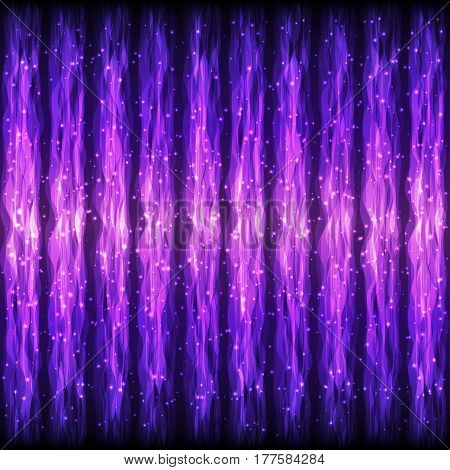 Seamless Glowing Pattern of Vertical Violet Wave Lines for App Program Website. Continuous Shimmering Background with Effect of Gleaming Flying Particles.
