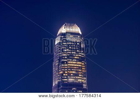 Close up view of Hong Kong landmark office building at night in Hong Kong