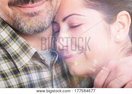 Closeup Portrait Of Beautiful Woman Hugging Her Boyfriend