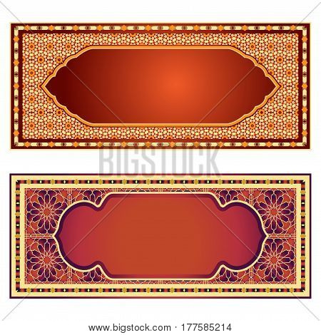 Traditions ornamental frames, banners in islamic style. Red and gold background