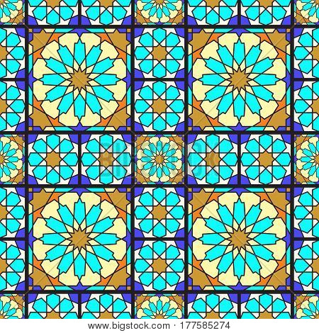 Stained glass ornamental background, vector seamless pattern