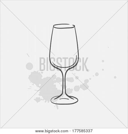 wine glass hand drawn icon - vector illustration