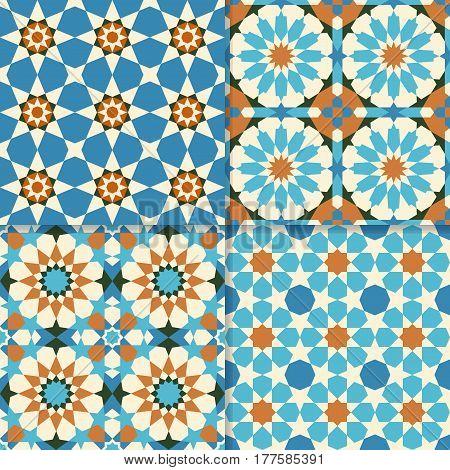 Set of traditional moroccan mosaic patterns arabic geometric art