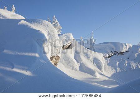 Mountain Range Zyuratkul, Winter Landscape. Snowdrifts