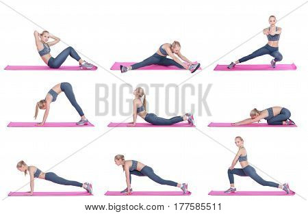 beautiful blonde girl in sportswear does exercises on a fitness Mat on white background. Set collection.