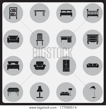 Set Of 16 Editable Furnishings Icons. Includes Symbols Such As Child Cot, Illuminant, Couch And More. Can Be Used For Web, Mobile, UI And Infographic Design.