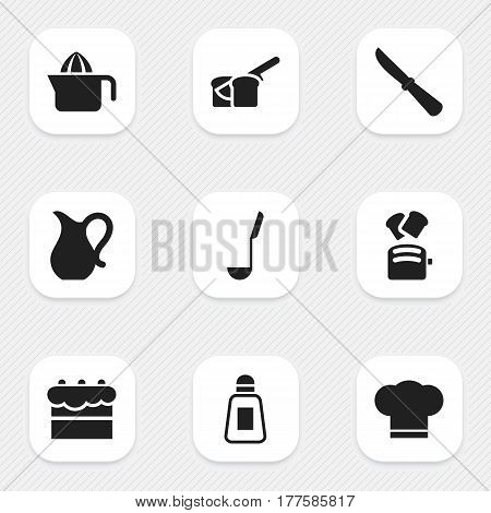 Set Of 9 Editable Cooking Icons. Includes Symbols Such As Kitchen Blade, Slice Bread, Cook Cap And More. Can Be Used For Web, Mobile, UI And Infographic Design.