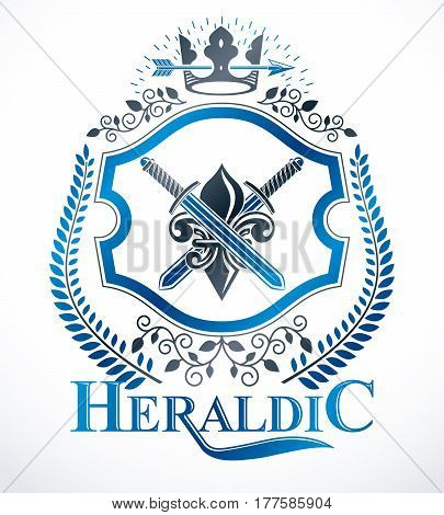 Heraldic isolated vector emblem created with swords and royal crown