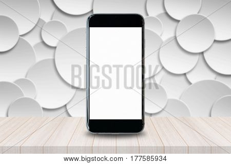 Smartphone with blank white screen and copy-space on wood table. Elegant Design with Copy Space for placement your backgroundTemplate mock up for montage your design and products