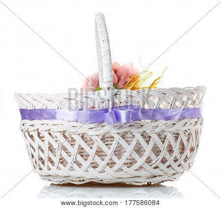 Bamboo basket isolated on white background Decorated on white