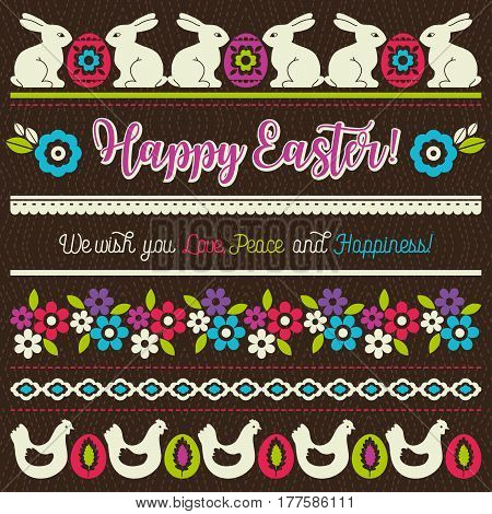 Easter greetings cards with color easter eggs hen flowers and rabbits. Ideal for printing onto fabric and paper or scrap booking vector illustration