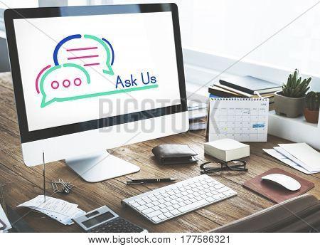 Ask Us Internet Assistance Concept