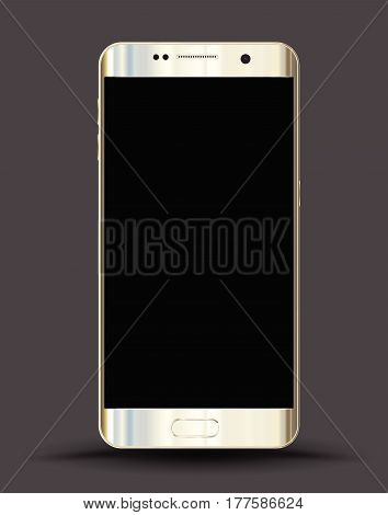 Realistic smartphones mockups gold on dark background. Stock vector illustration for printing web element Game demo and application mockup.
