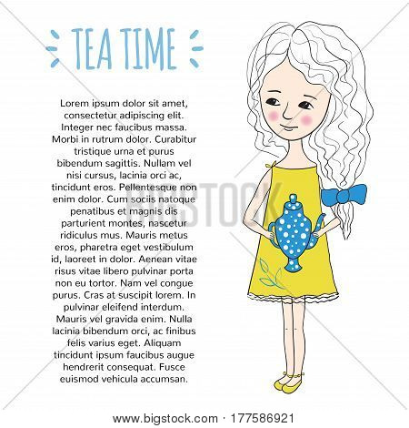 Tea party. Sweet girl with a kettle in hand. Design of the booklet or page of the magazine. Illustration freehand in a cartoon style.