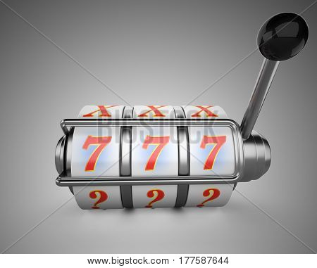 One-armed bandit with triple sevens at slot machine. 3d illustration high resolution on a grey bacground.