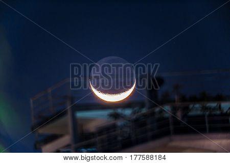 beautiful Moon in acapulco bay at Mexico