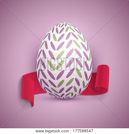 Illustration of Vector Easter Egg. Happy Easter Painted Vector Egg with Ribbon Banner and DOF Photography Effect