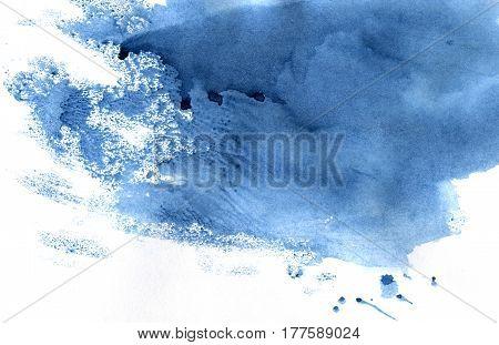 Watercolor background of indigo color. Hand-drawn illustration.