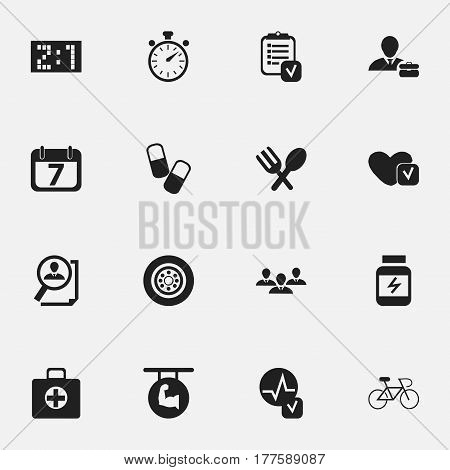 Set Of 16 Editable Mixed Icons. Includes Symbols Such As Tire, Chronometer, Employee And More. Can Be Used For Web, Mobile, UI And Infographic Design.