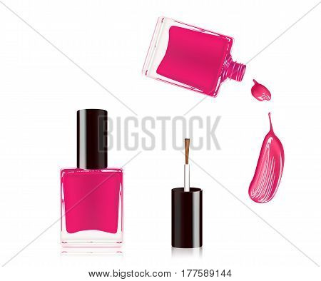 Pink nail polish in bottle with the bottle lid on top and nail smear drop isolated on white background. Vector illustration