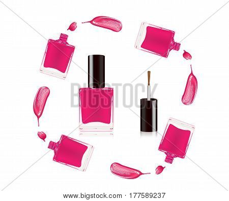 Pink nail polish in bottle with the bottle lid on top and nail smear drop isolated on white background. Vector illustration.