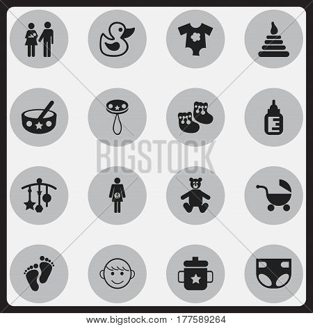Set Of 16 Editable Child Icons. Includes Symbols Such As Small Dresses, Adorn, Goplet And More. Can Be Used For Web, Mobile, UI And Infographic Design.
