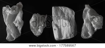 crumpled tissue paper collection. many details, isolated.