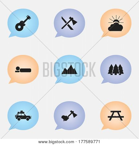 Set Of 9 Editable Travel Icons. Includes Symbols Such As Bedroll, Pine, Peak And More. Can Be Used For Web, Mobile, UI And Infographic Design.