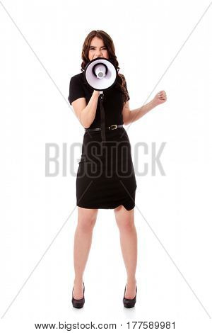 Business woman with megaphone yelling and screaming.