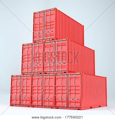 Set of cargo 3d container delivery. 3d rendering