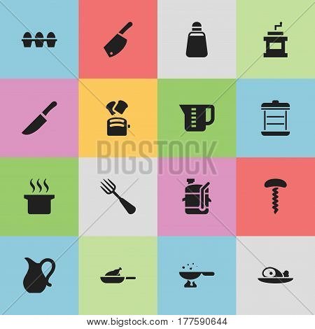 Set Of 16 Editable Cook Icons. Includes Symbols Such As Squeezer, Paprika, Knife And More. Can Be Used For Web, Mobile, UI And Infographic Design.