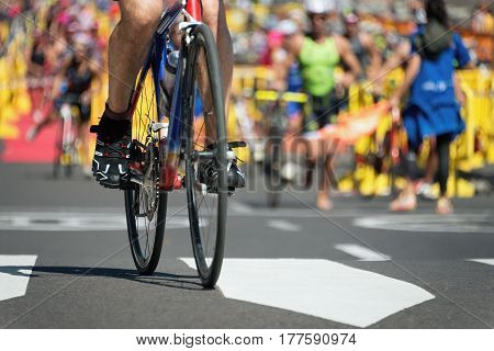 Triathlon bike ,cycling after the swimming in the transition zone